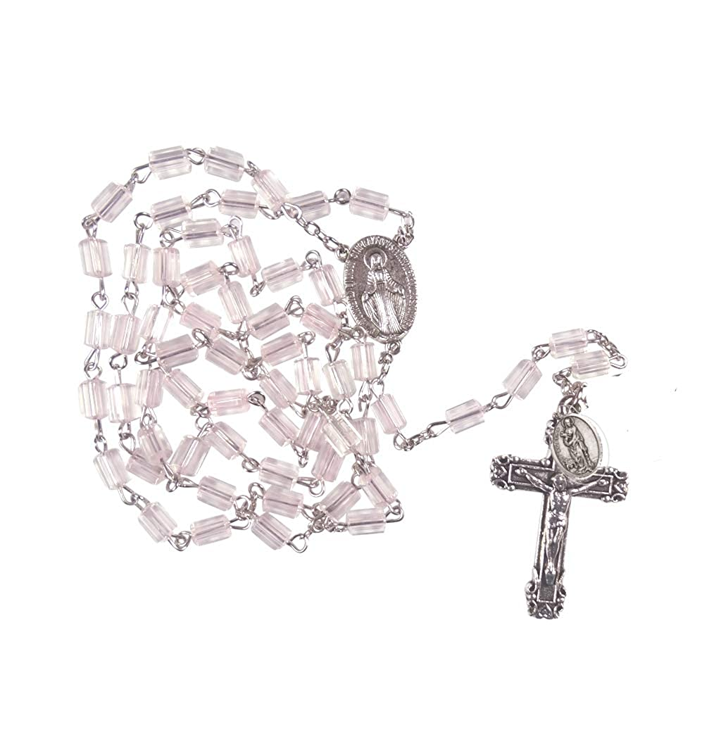 Amazoncom Saint Agatha Italian Pink Pillar Beads Glass Rosary With