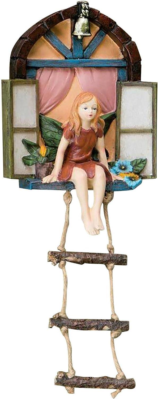 Nani?Wear Fairy House with Ladder Hanging Tree Sculpture Garden Decor, Outdoor Tree Garden Sculptures & Statues, Yard Art Ornament, Whimsical Hand Painted Polyresin Garden Decor Miniature Accessories