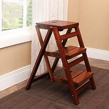 ZfgG escalera plegable de 3 peldaños de madera antideslizante, escalera de seguridad para el hogar y la cocina, marrón: Amazon.es: Bricolaje y herramientas
