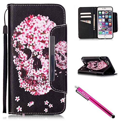 iPhone 5S Case, iPhone 5 Wallet Case, Firefish [Card Slots] [Kickstand] Flip Folio Wallet Case Synthetic Leather Shell Scratch Resistant Protective Cover for Apple iPhone 5/5S/SE-Skull