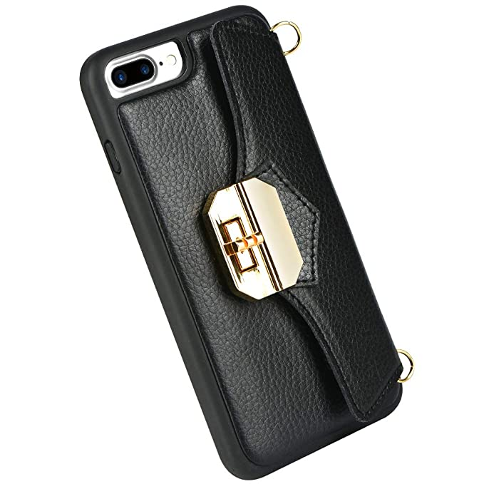 buy online 81893 203fe iPhone 8 Plus Wallet Case with Chain and Chain Crossbody Strap, ZVEdeng  iPhone 7 Plus Card Holder Case, Mini Crossbody Bag for Women Flip Case for  ...