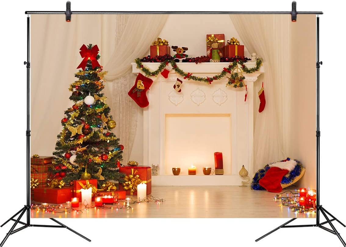 LB 7x5ft Christmas Tree Photography Backdrop Fireplace Candles Photo Background Party Decorations Studio Prop Customized SDX1071