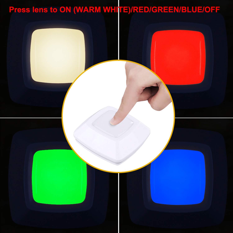 HONWELL RGB Puck Lights, LED Closet Lights, Push Light, Battery Powered Lights, Touch Night Lights, Wireless Under Cabinet Kitchen Lighting, Stick on Lights, Under Counter Lighting by HONWELL (Image #2)