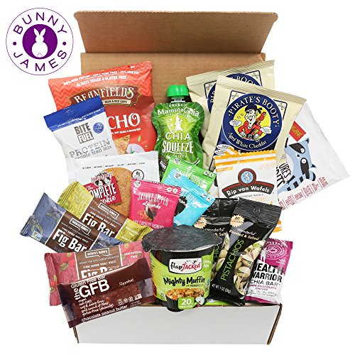 Happy Birthday Gift, Natural, Organic, Non-Gmo Verified, Healthy Snack Assortment Low Sugar Treats Gift Box (20 Count) (Gift Basket For 65th Birthday)