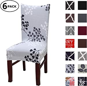 Dining Chair Cover Seat Protector Super Fit Slipcover Stretch Removable Washable Soft Spandex Fabric for Home Hotel Dining Room Ceremony Banquet Wedding Party Restaurant (Color 5, 6 Per Set)