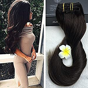 "Full Shine 16"" 9Pcs 120gram Brazilian Straight Clip in Hair Extensions Remy Dark Brown Clip in Hair Extensions Good Quality Real Hair For Short Hair Thick Clip on Hair"