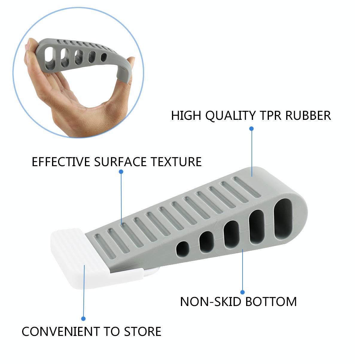 Black-4 Decorative Door Stoppers Premium Rubber Door Stops Prevents Pinching of Small Child Fingerss Non-Toxic No unpleasant Door Stopper Works on All Floor Surfaces
