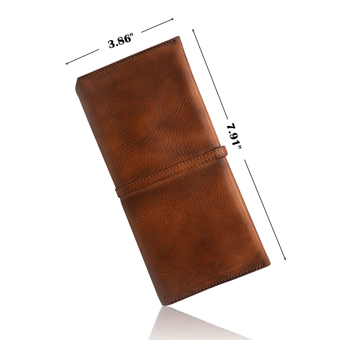 879Brown Wallets for Women Genuine Leather Card Organizer Dip Dye Coin Purse Ladies Wallets