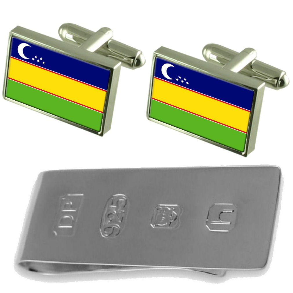 Select Gifts Kara-Kalpak Flag Cufflinks /& James Bond Money Clip
