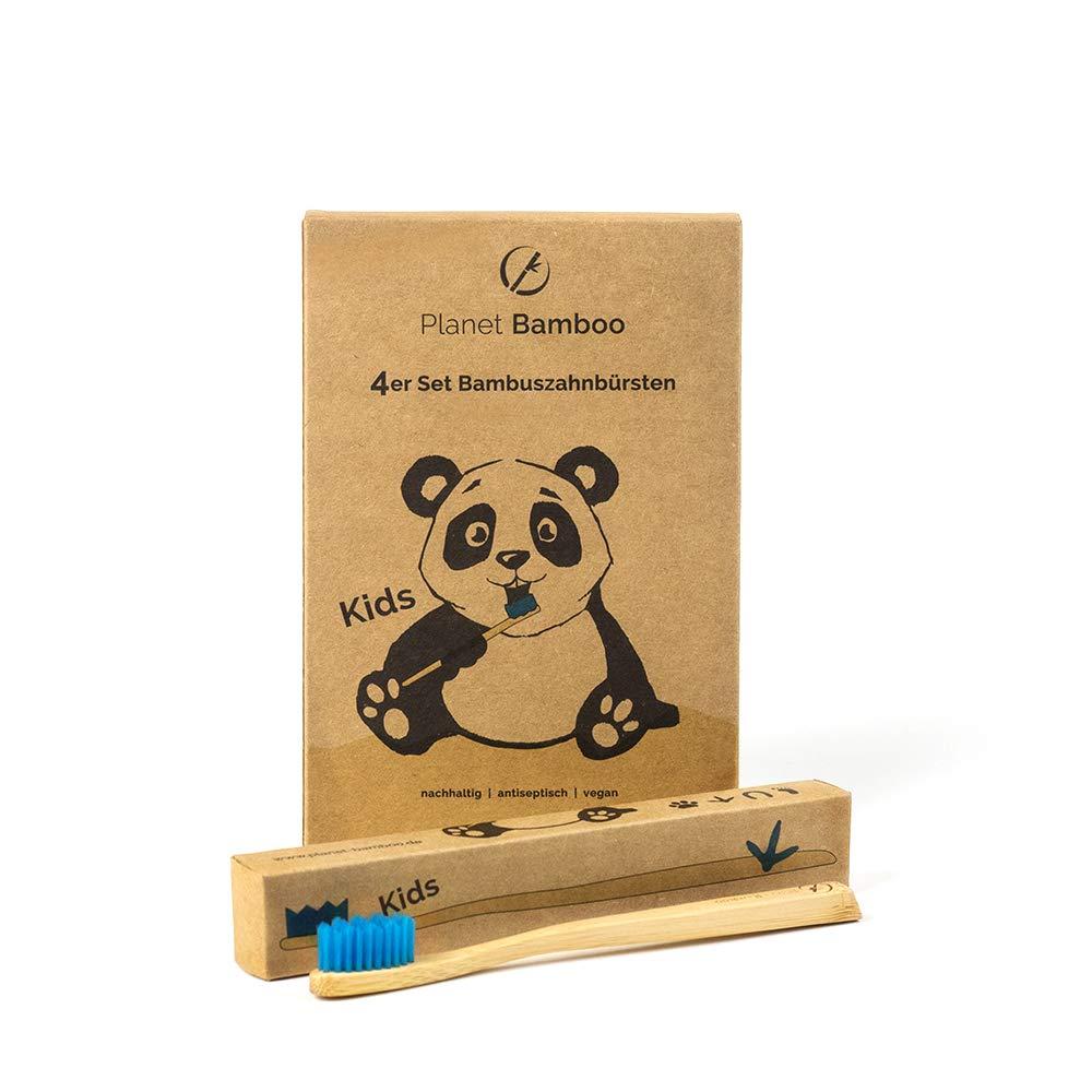 Planet Bamboo ♻ Paquete de 4 cepillos de dientes de bambú (Niños | rosa o azul | Medio), Cepillo de dientes natural (Azul)