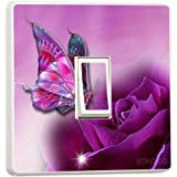 Purple Butterfly and Rose Light switch sticker vinyl by stika.co by stika.co