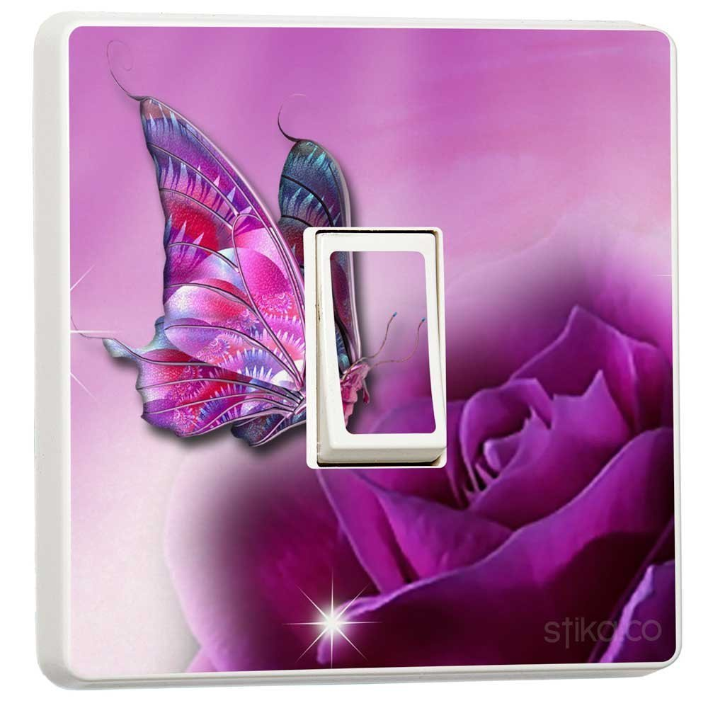 Purple Butterfly and Rose Light switch sticker vinyl by stika.co EXPSFD009779