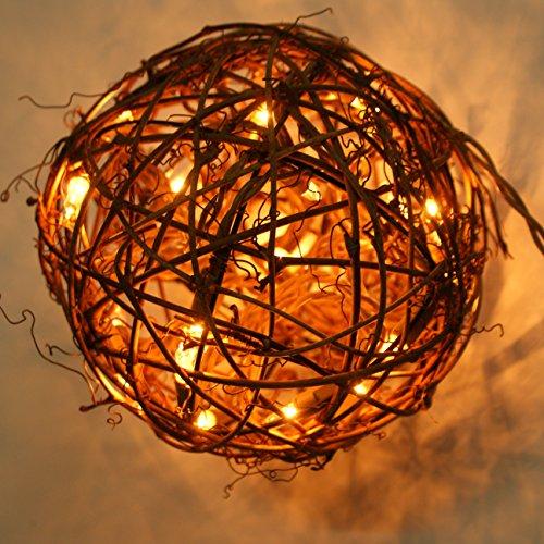 Emlyn LED Pendant Lamp By Emlyn (6.7'') Christmas Decor, Ambient Mood Lighting Night Globe, Romantic Lantern For Wedding, Holiday, Patio, Outdoor (Warm White), rattan, grape by Emlyn (Image #1)