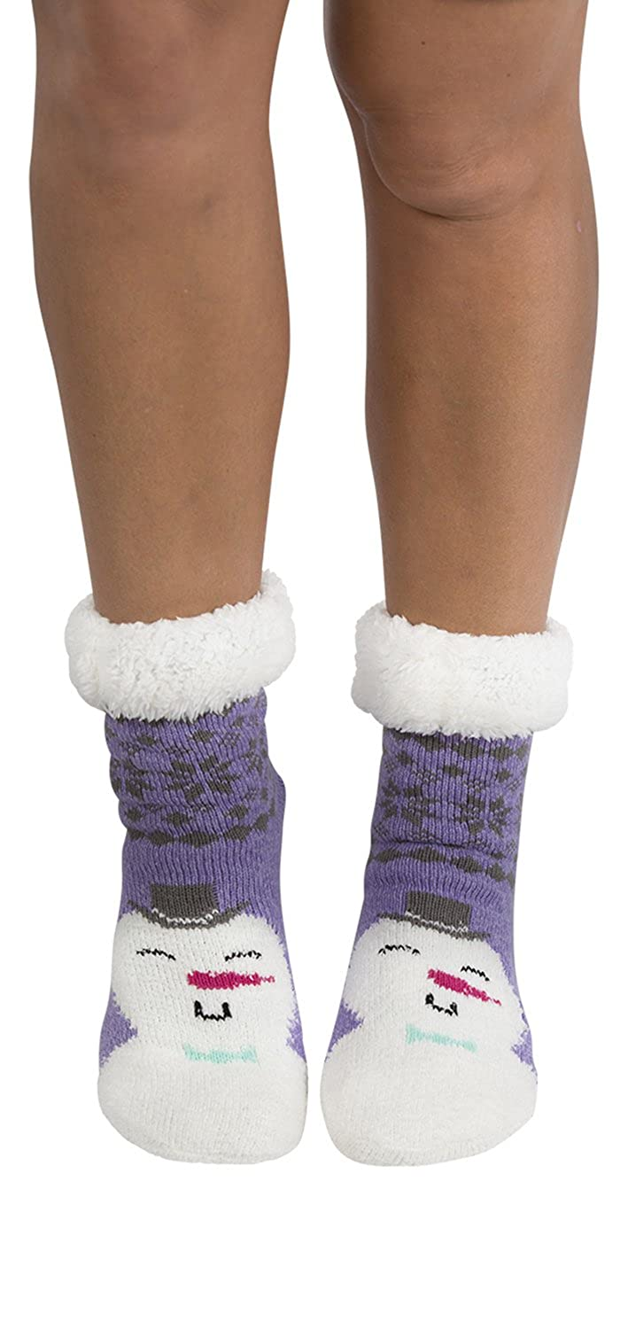 Womens Faux Fur Fuzzy Winter Animal Socks with Grippers