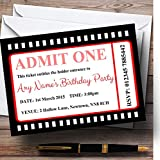 Movie Ticket Red Personalized Birthday Party Invitations