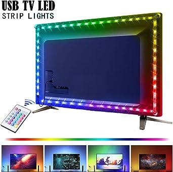 Retroiluminación de TV RGB, barra de luz LED USB IP65 2M, barra de luz LED SMD 5050 Iluminación de TV, luz ambiental de TV de neón con control remoto: Amazon.es: Iluminación