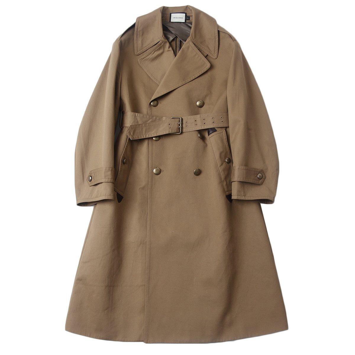 UNIQUEWHO Women's Classic Cotton Double-Breasted Midi-Length Trench Coat Color Dark Khaki (S)