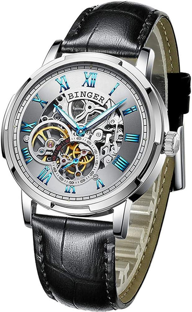 BINGER Skeleton Men's Watch Automatic Mechanical Stainless Steel Case