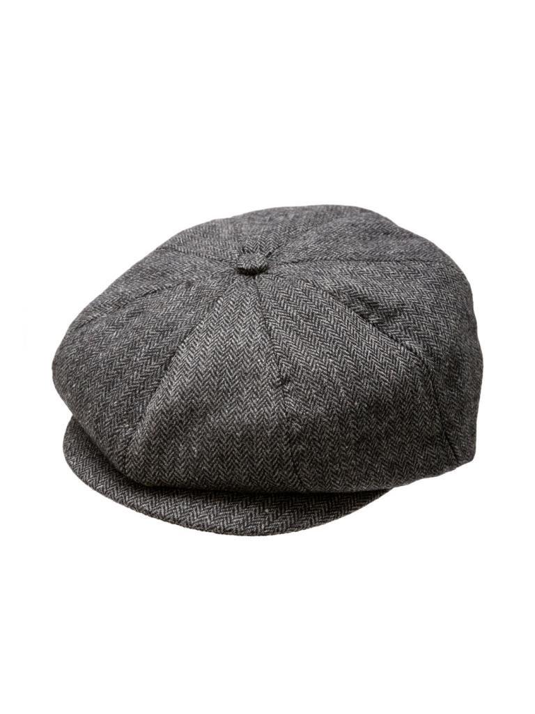 Born to Love Scally Cap Boy's Vintage Ring Bearer Pageboy Flat Ivy Newsboy Wedding Tweed Child Golf Cap Hat -Black And Gray-XL(5-7T/56CM)