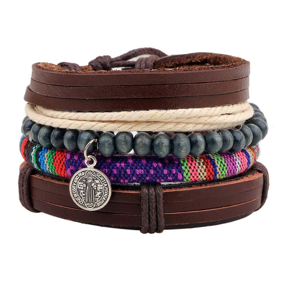 Loweryeah 1Set Retro Unisex Multilayer Pu Leather Straps/Wooden Beads Wrist Bracelet Women (Brown)