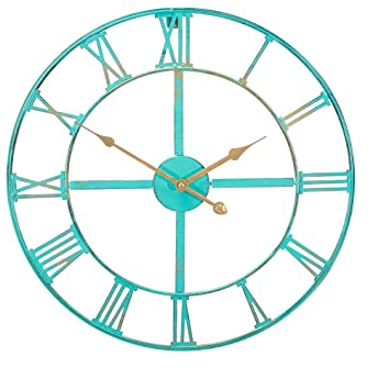 Metal Garden Clock In A Patina Turquoise Painted Finish   Outdoor Garden  Decor Wall Clock