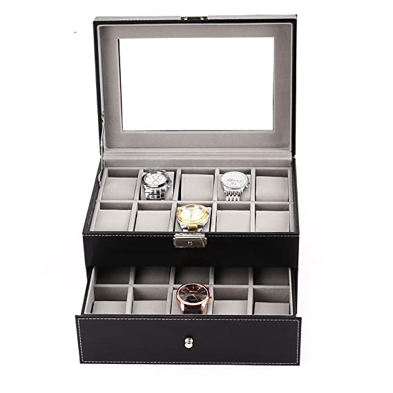 Amazon.com: Boby Watch Box Organizer Watch Case for Men Women Double Layer PU Leather 20 Slots for Display Storage Watch Holder with Drawer Glass Top Black: ...