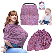 Nursing Cover For Breastfeeding Moms - Car Seat Covers For Babies - Car Seat Canopy - Carseat Cover For Baby - Breathable Stretchy Infinity Scarf - Shopping Cart, Stroller, Great Gift for Moms & Kids