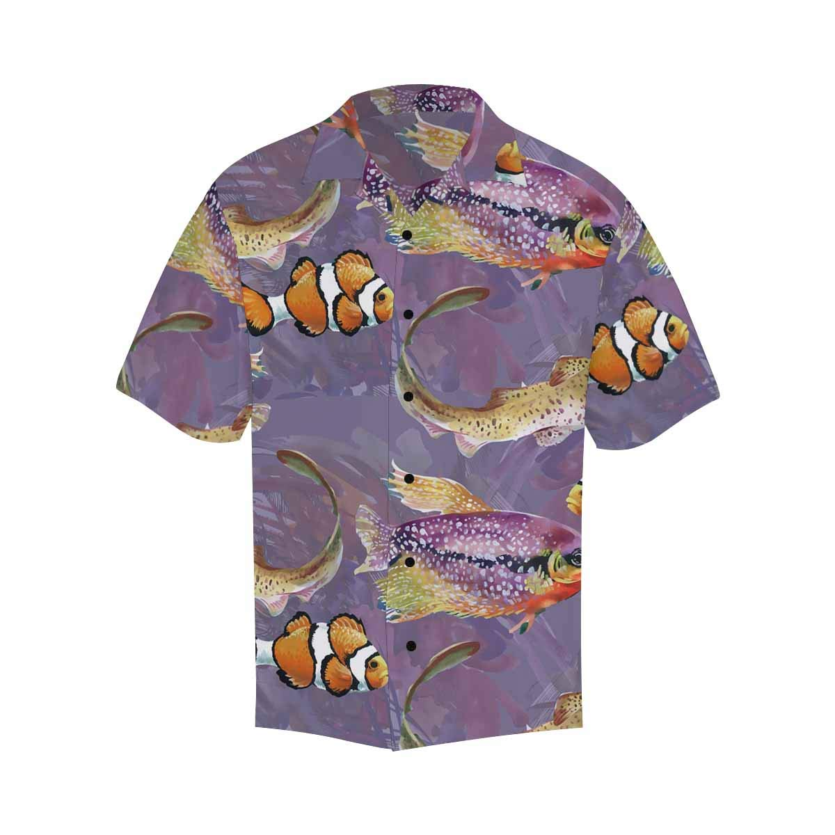 InterestPrint Men Button Up Leaves of Palm Trees and Flowers Bird Short Sleeve Print Button Up Shirts
