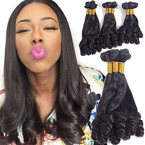 VRHOT 10A Funmi Hair Bundles Brazilian Virgin Human Hair Extensions Curly Unprocessed Natural Color Hair Weaves 3 Bundles Hair Wefts for Black Women 100g/bundle (12'' 14'' 16'', Natural Color)