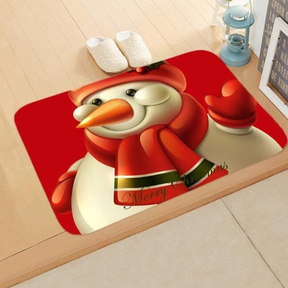 zhenleisier Door Mat,Christmas Santa Reindeer Snowman Anti-Slip Doormat Rug Floor Mat Bathroom Carpet Living Room Kitchen Bedroom Floor Door Dormitory Decor 1