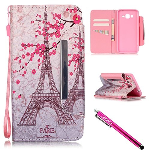Oak Gel Corner - G530 Case, Galaxy Grand Prime Case, Firefish [Kickstand] [Card/Cash Slots] PU Leather Wallet Flip Cover with Wrist Strap for Samsung Galaxy Grand Prime G530 G530H G5308-Tower