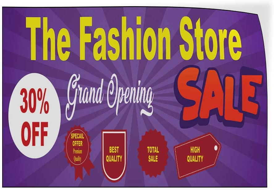 Custom Door Decals Vinyl Stickers Multiple Sizes The Fashion Store Sale Purple Business Sale Outdoor Luggage /& Bumper Stickers for Cars Purple 72X48Inches Set of 2