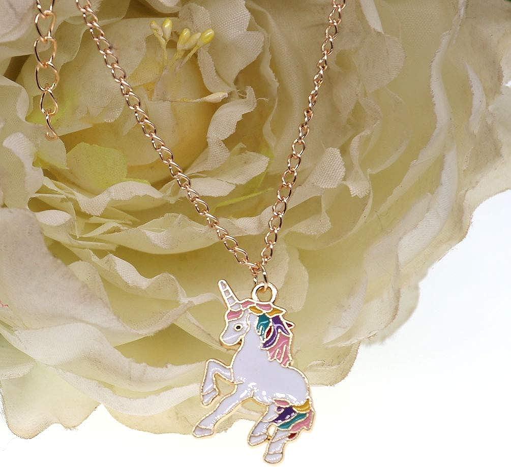 DUOWEI Metal Rainbow Horse Unicorn Necklace Enamel Fantasy Animals Pendant for Women Little Girls Novelty Gifts
