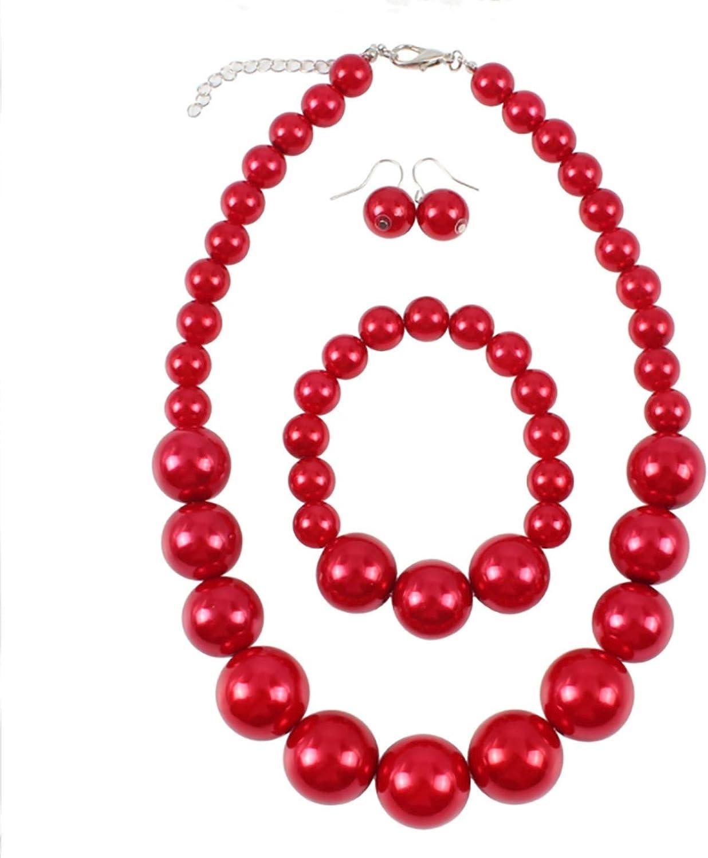 Shuny Conjunto de Joyas,Art Conjunto Collar Pendientes y Pulsera para Mujer Perlas Rojo,Collar de Perlas,Colores brillantes, te Hacen más Brillante y Encantador.
