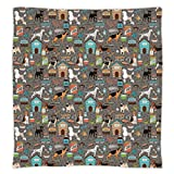 iPrint Super Soft Throw Blanket Custom Design Cozy Fleece Blanket,Dog Lover,Paw Print Background with Pet Canine Accessories Balls Carry Bags Leash Food Bowl,Multicolor,Perfect for Couch Sofa or Bed