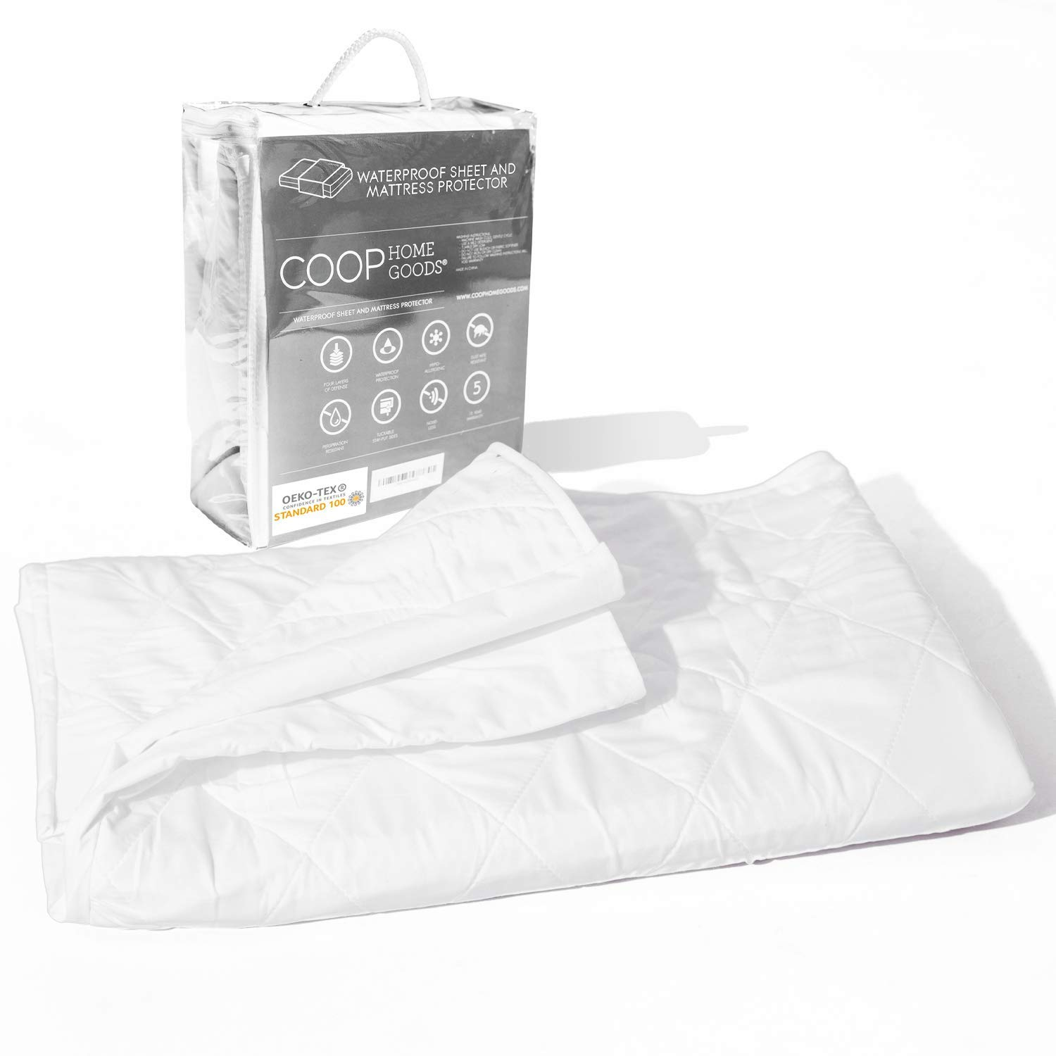 """Coop Home Goods - 4 Layer Washable Incontinence Pad (39"""" x 39.5"""") - Absorbs Up to 6 Cups - Waterproof and Hypoallergenic - Soft, Noiseless and Reusable Mattress Protector - Oeko-TEX Certified - Twin"""