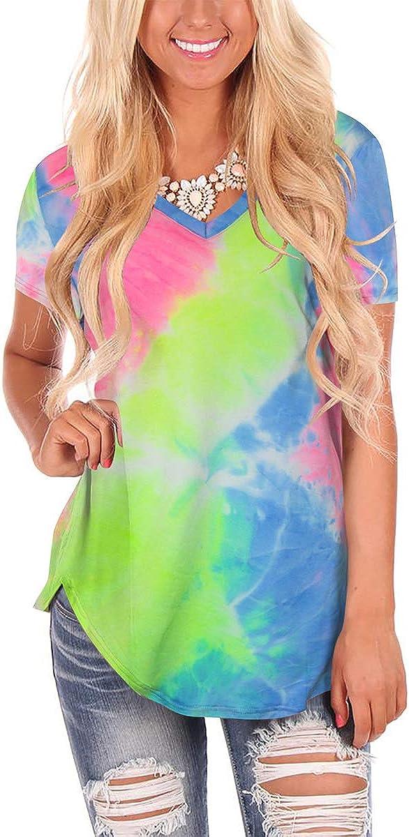 FOWSMON Womens Casual V Neck Short Sleeve Tops Basic Summer T Shirts
