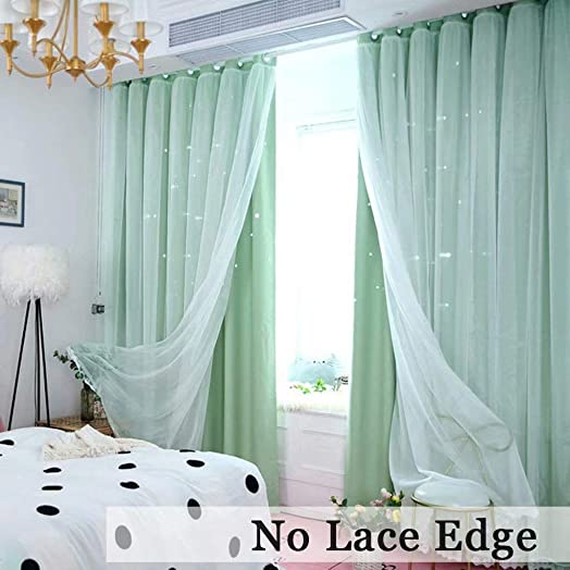 MacoHome Starry Sky Curtains Bedroom Grommet Room Darkening Draperies for Girls Room, Green, 100 x 96 inch x 2 Panels NOT Full Blackout