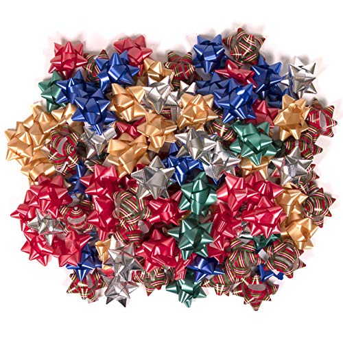 Christmas Bows for Presents – 108 Pack Stick On Gift Bows Holiday Wrapping Supplies