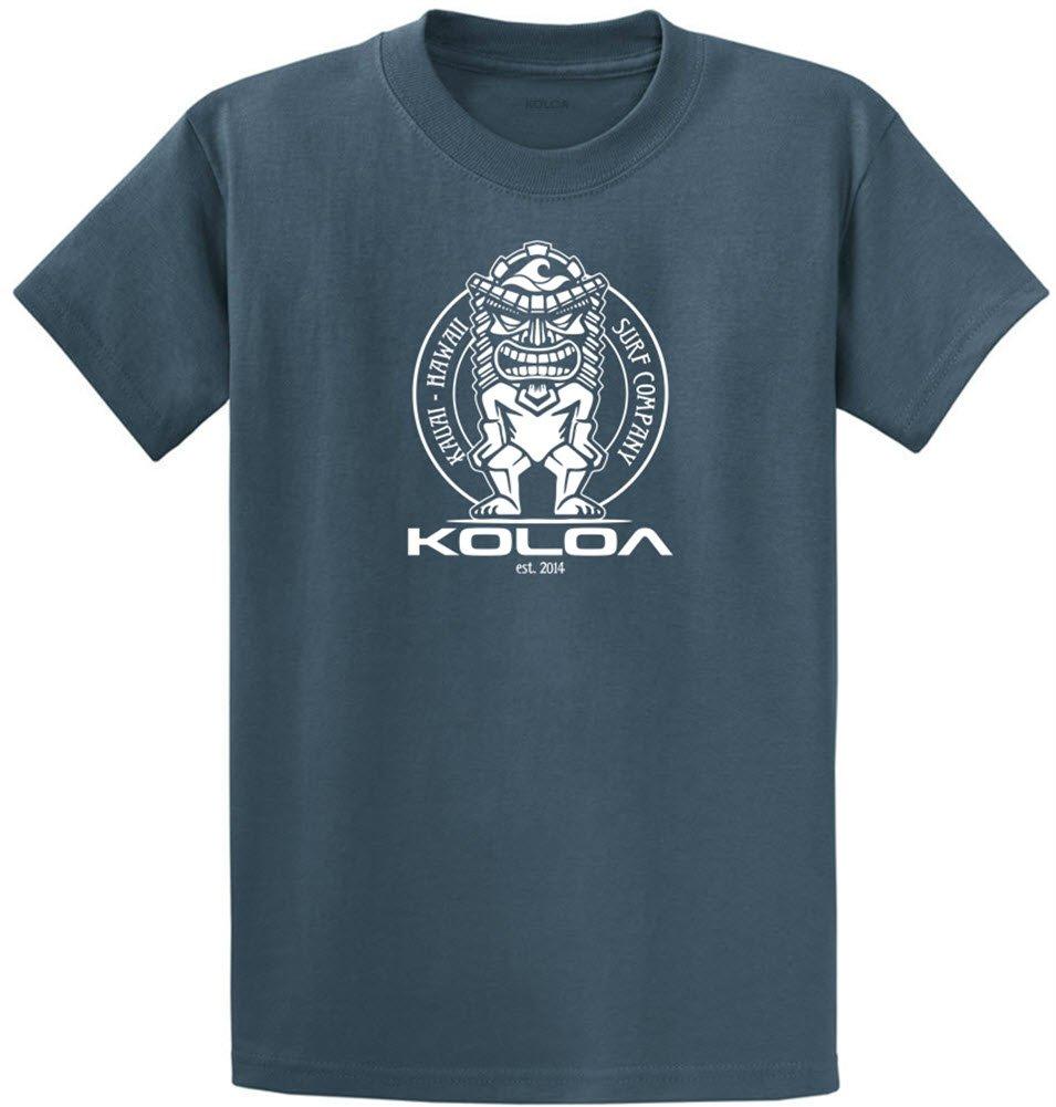Joe's USA Koloa Surf カスタムグラフィック重量系コットンTシャツ レギュラー、ビッグ、トール B06Y5Y1BHG 4L,Steel Blue With White Tiki