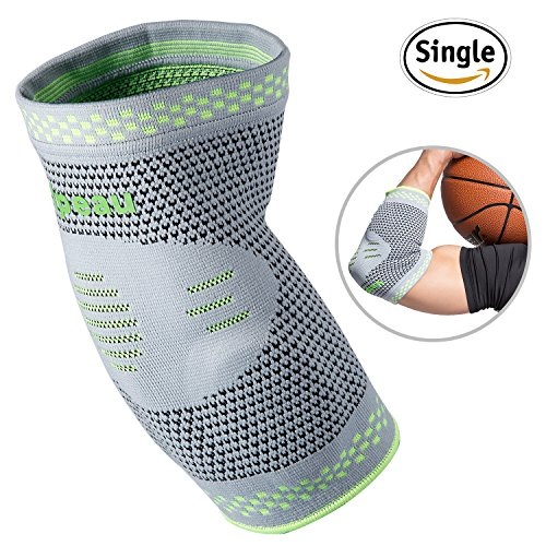 Elbow Brace Compression Sleeve with Gel Pads Support for Tendonitis, Tennis Elbow & Golf Elbow Treatment, Arthritis, Reduce Joint Pain During Any Activity for Women & Men by Velpeau (Medium) (Gel Golf)