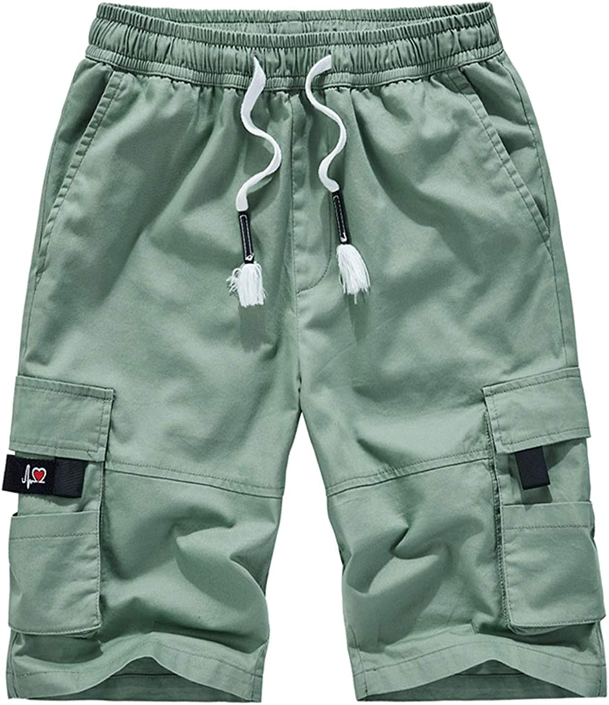 APTRO Mens Cargo Shorts Elastic Waistband Casual Twill Relaxed Fit Summer Short