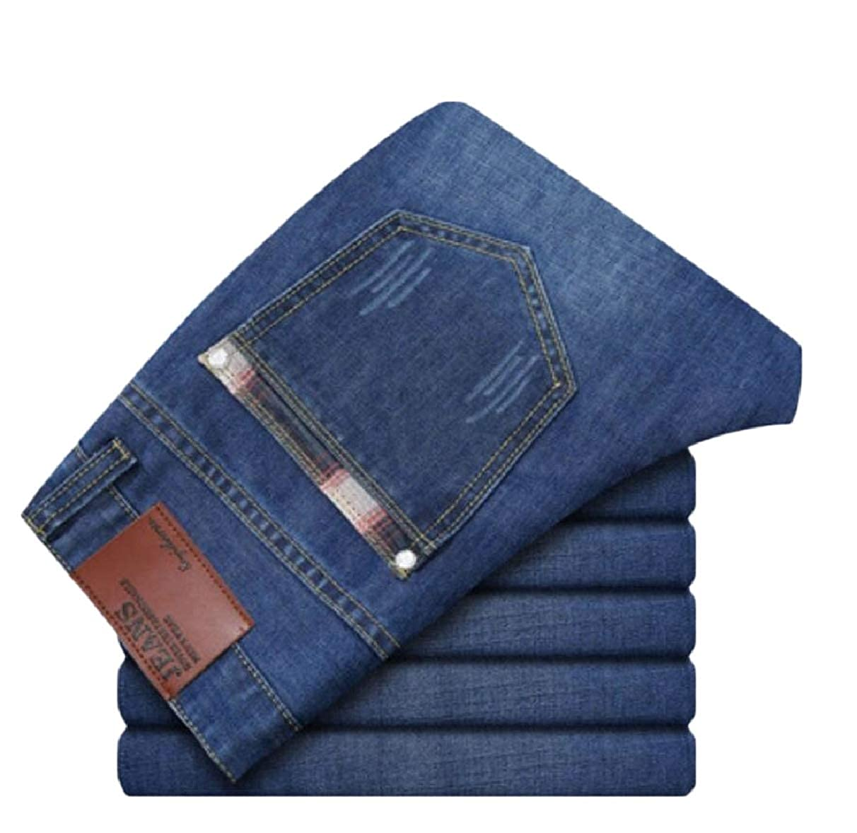 ZXFHZS Mens Faux Fur Lined Relaxed Fit Solid Color Thicken Denim Pants