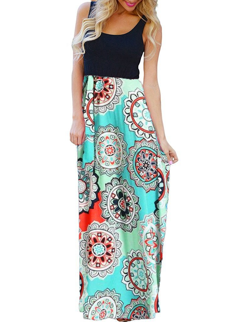 OURS Women's Summer Ethnic Style Floral Print Bohemian Sleeveless Tank Dresses Beach Long Maxi Dresses (Y-Pattern3, M)