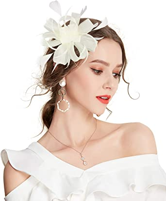 Flower Fascinator Hair Clip for Women Feather Wedding Hair Accessory Cocktail Head Wear