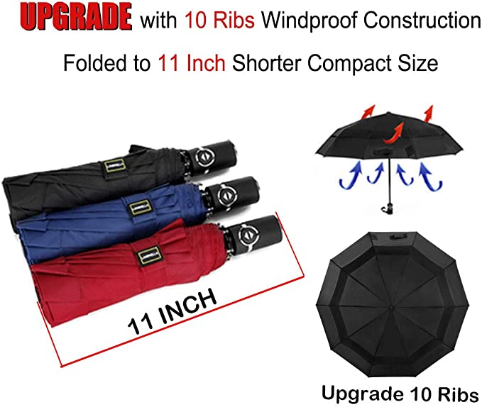 RLDSESS Abstract Compact Patio Umbrella Ladies Men 10 Ribs Automatic Opening and Closing,Abstract Forest Landscape Scenery with Wolf On The Moonlight,Windproof Rainproof 42 Inches