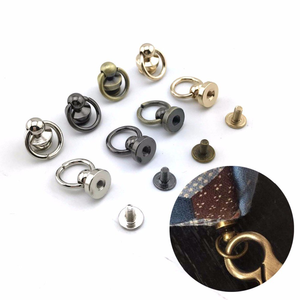 AKOAK Brass Pull Ring Pacifier Shape Rivets with Screw,Rivets Fasteners for DIY Leather Craft Belt Bag Wallet,9mm,6 Set Gold