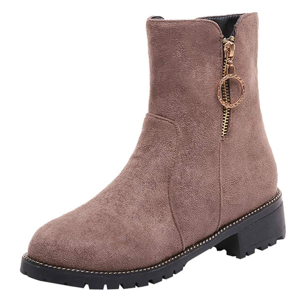 Frenchenal Femme Bottes de Neige Chaud Bas Lacet Rond Haut Bottes Hiver Boots Mode Courts Doublure Lacets Chaussures