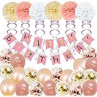 Kit Feliz Cumpleaños Decoración - Banner Letrero Feliz Cumpleaños, Pompones de Papel, Borlas, Ideal para Fiesta de Cumpleaños niño
