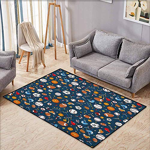 Classroom Rug,Sport,Many Basketball Baseball and Football Icons Champ Gloves Dark Background,Children Crawling Bedroom Rug,4'11